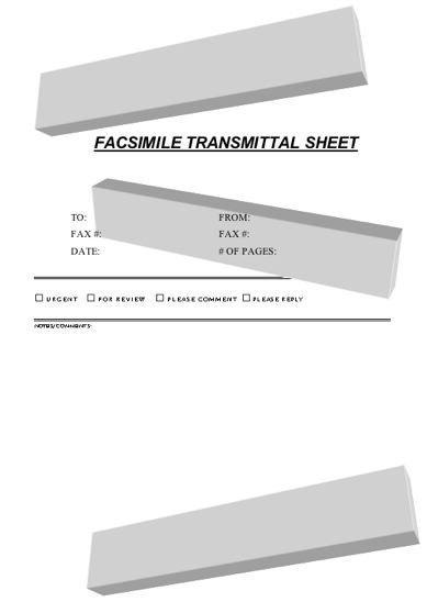 3-D Bars Fax Cover Sheet