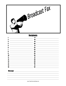 Broadcast Fax Fax Cover Sheet