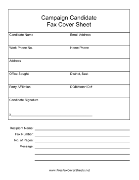 Campaign Candidate Fax Cover Fax Cover Sheet
