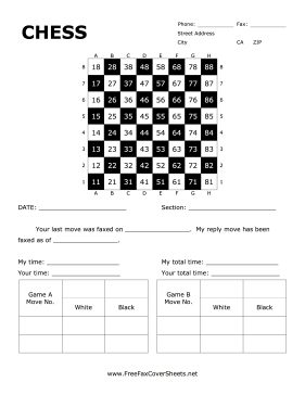 Chess Fax Cover Sheet