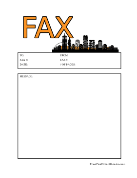 Cityscape Fax Cover Sheet
