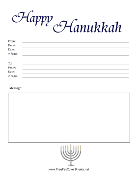 Colorful Hanukkah Fax Cover Fax Cover Sheet