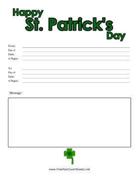 Colorful St Patricks Day Fax Cover Fax Cover Sheet