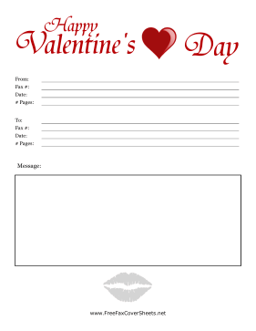 Colorful Valentines Day Fax Cover Fax Cover Sheet