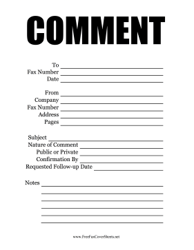 Comment  Fax Cover Sheet