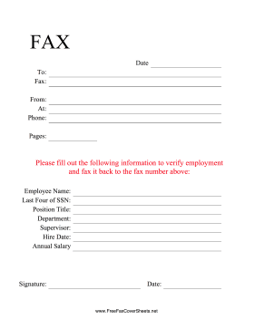 Employment Verification Fax Fax Cover Sheet