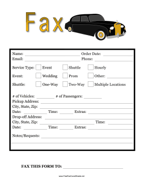 Fax Limo Fax Cover Sheet