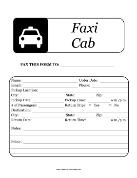Fax Taxi Fax Cover Sheet