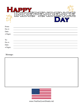 Fourth Of July Fax Cover Fax Cover Sheet
