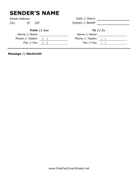 cover sheet fax