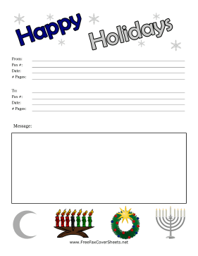 Happy Holidays Fax Cover Fax Cover Sheet