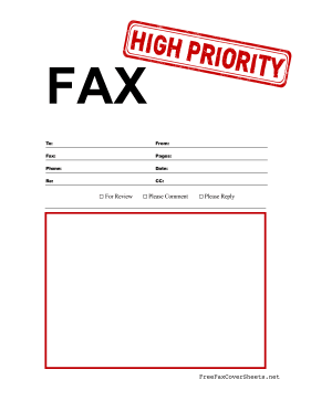 High Priority Fax Fax Cover Sheet