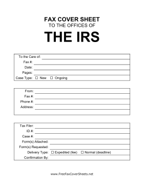IRS Cover Sheet Fax Cover Sheet at FreeFaxCoverSheets.net