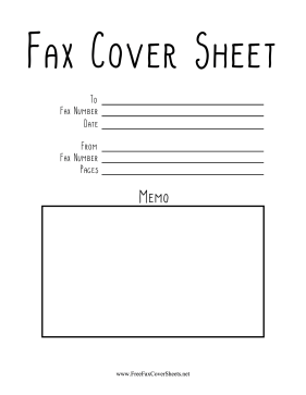 Indie Font Fax Fax Cover Sheet
