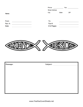 Jesus Fish Fax Cover Sheet Fax Cover Sheet