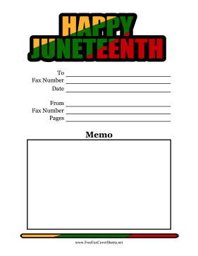 Juneteenth Fax Cover Sheet Color Fax Cover Sheet