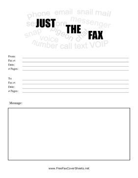 Just The Fax Cover Fax Cover Sheet