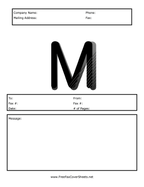 Monogram Fax Cover M Fax Cover Sheet