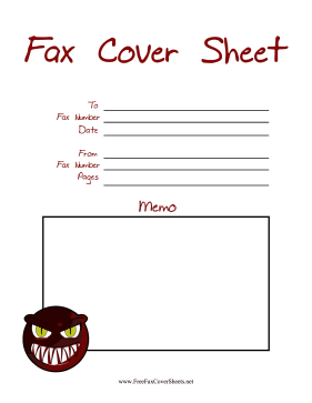 Monster Fax Fax Cover Sheet