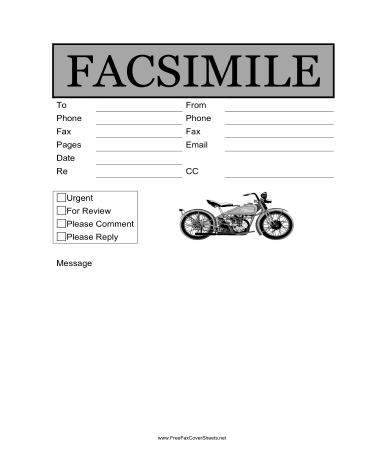 Motorcycle Fax Cover Sheet