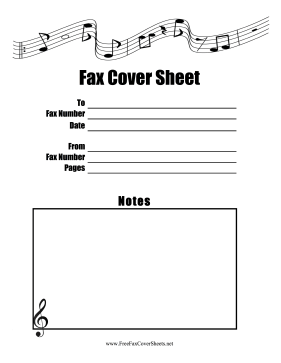 Music Note Fax Fax Cover Sheet