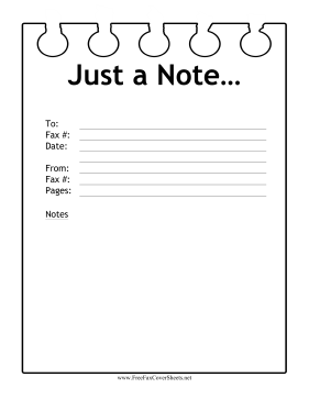Note Paper Fax Fax Cover Sheet