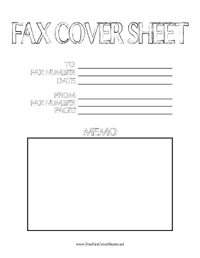 Outline Font Fax Fax Cover Sheet