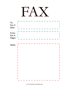 Plain Fax Color Fax Cover Sheet