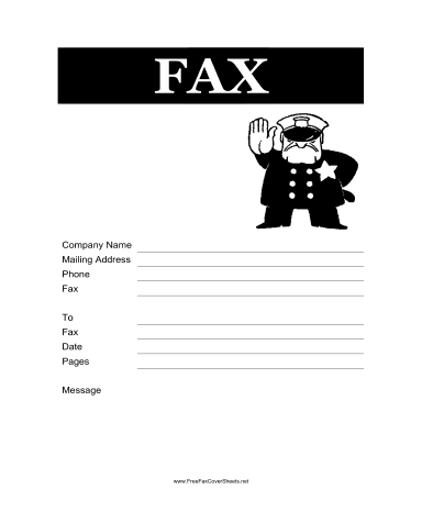 Police Fax Cover Sheet at FreeFaxCoverSheets.net