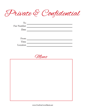 Private And Confidential  Script Fax Cover Sheet