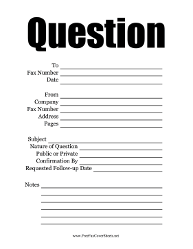 Question  Fax Cover Sheet
