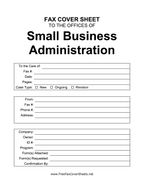 Small Business Administration Cover Sheet Fax Cover Sheet