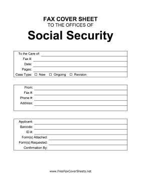 Social Security Administration Fax Cover Sheet