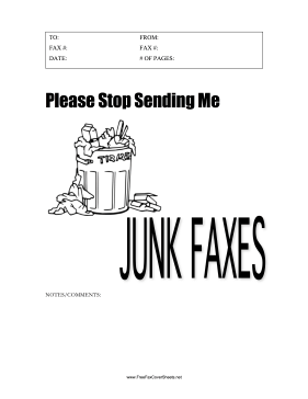 Stop Junk Faxes Fax Cover Sheet