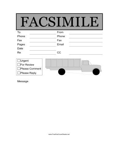 Trucking Fax Cover Sheet