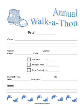 Walkathon Donation Fax Fax Cover Sheet
