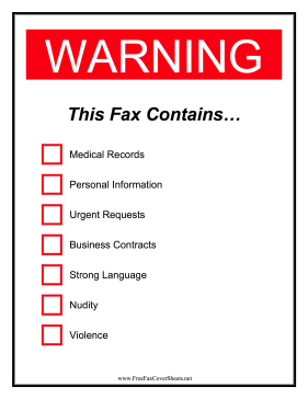 Warning Fax Fax Cover Sheet