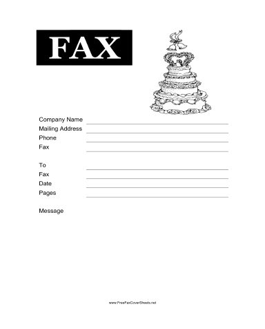 Wedding Cake Fax Cover Sheet