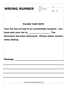 Wrong Number Fax Cover Sheet