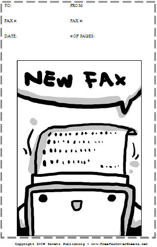 Cartoon  Fax Cover Sheet At FreefaxcoversheetsNet