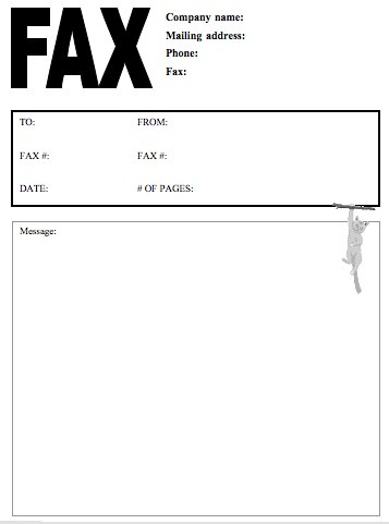 Cat #2 Fax Cover Sheet At Freefaxcoversheets.Net