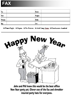 New Year's Fax Cover Sheet