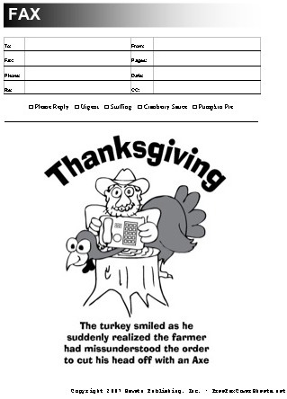 Thanksgiving Fax Cover Sheet At FreefaxcoversheetsNet