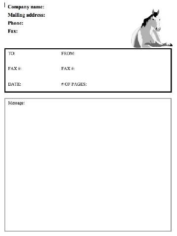 Horse Fax Cover Sheet