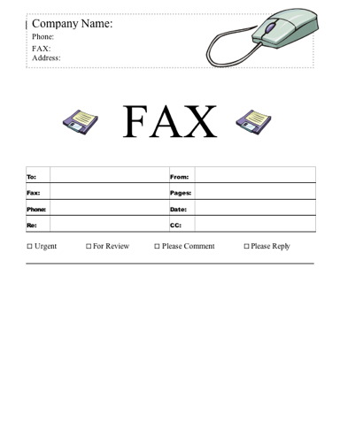 Mouse and Floppy Disks Fax Cover Sheet