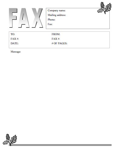 Oak Leaves Fax Cover Sheet  Sample Fax Cover Letter
