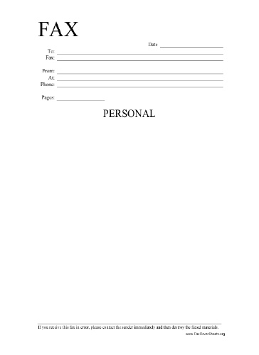Personal Information Fax Cover Sheet at FreeFaxCoverSheets.net