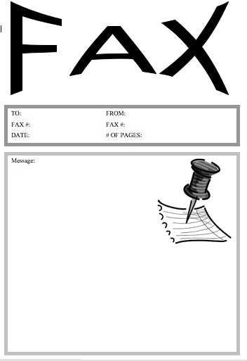 Pushpin Fax Cover Sheet  Fax Cover Template Microsoft Word