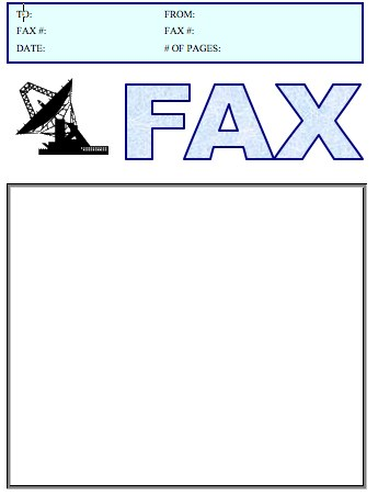 Satellite Dish Fax Cover Sheet