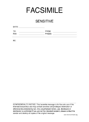 Sensitive Information Fax Cover Sheet
